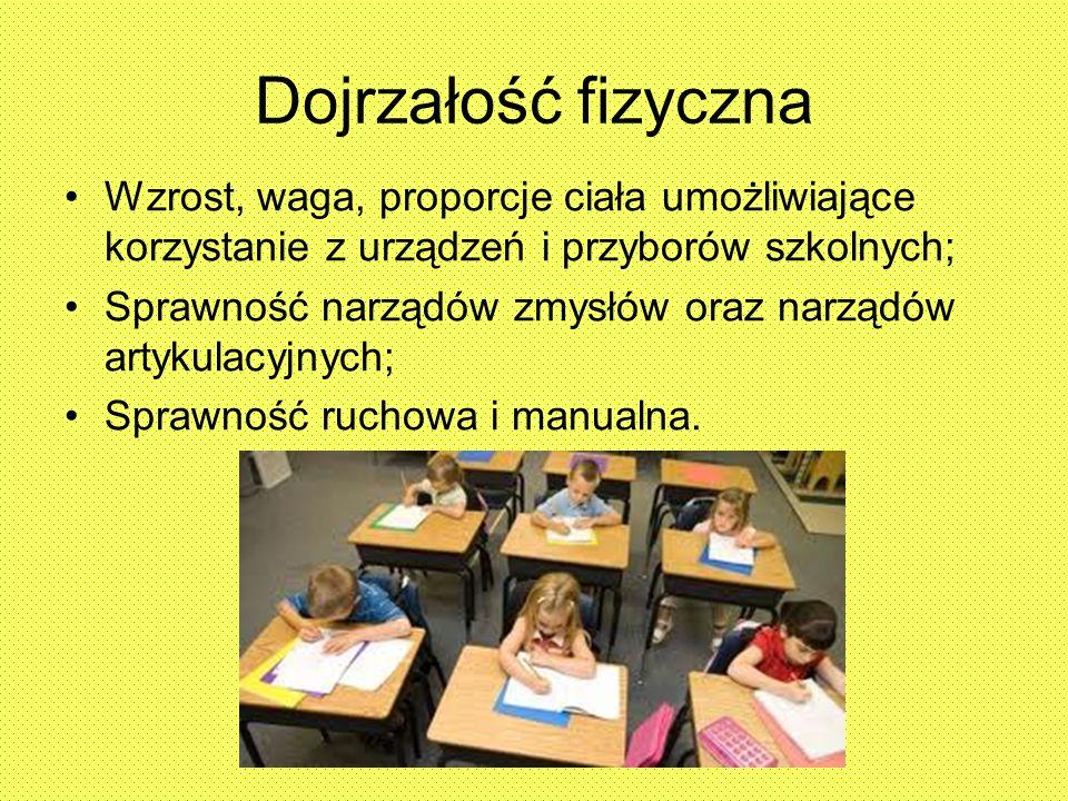 Dojrzałość fizyczna Wzrost, waga, proporcje ciała umożliwiające korzystanie z urządzeń i przyborów szkolnych;