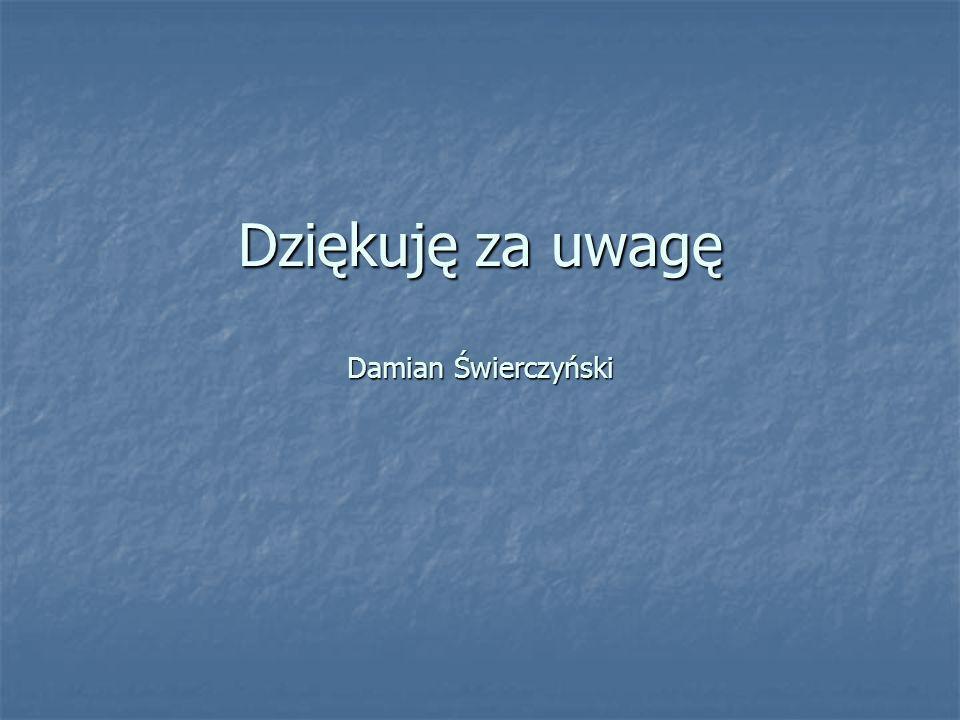 Dziękuję za uwagę Damian Świerczyński