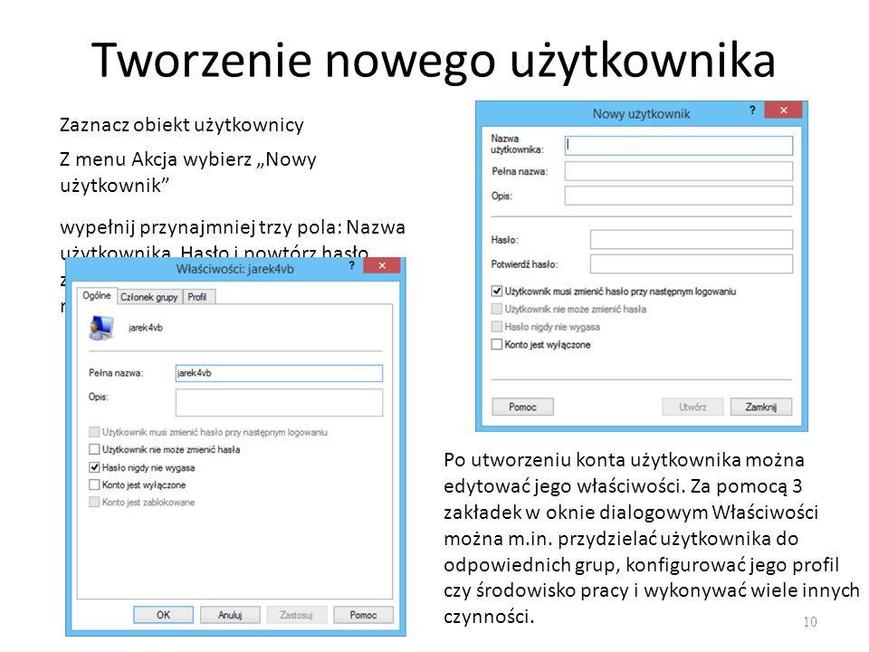 Tworzenie nowego użytkownika