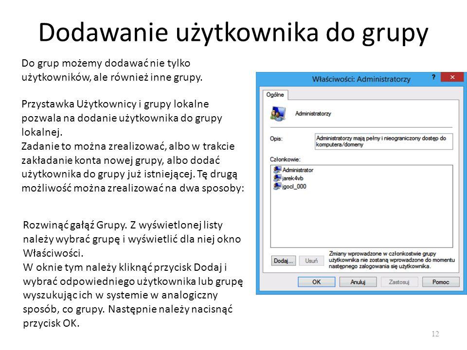 Dodawanie użytkownika do grupy