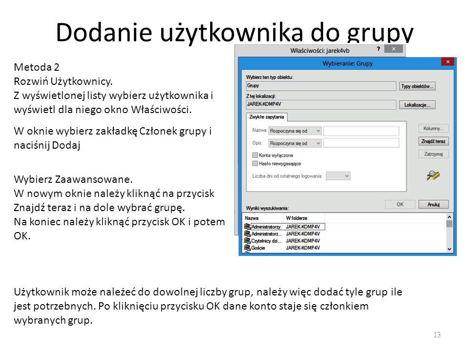 Dodanie użytkownika do grupy