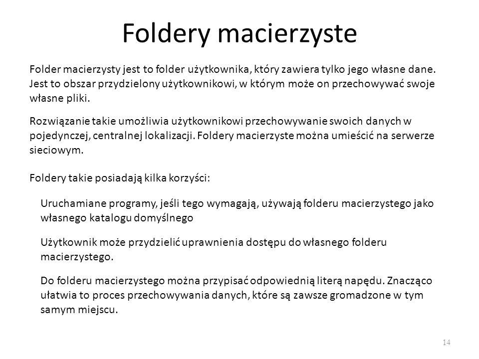 Foldery macierzyste Folder macierzysty jest to folder użytkownika, który zawiera tylko jego własne dane.