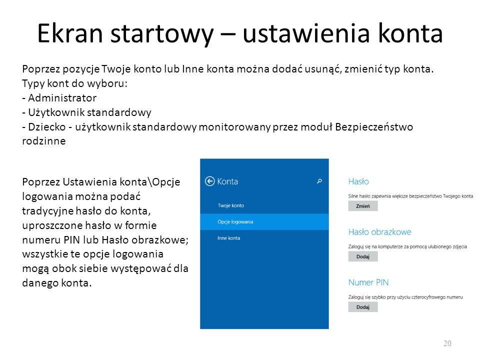 Ekran startowy – ustawienia konta