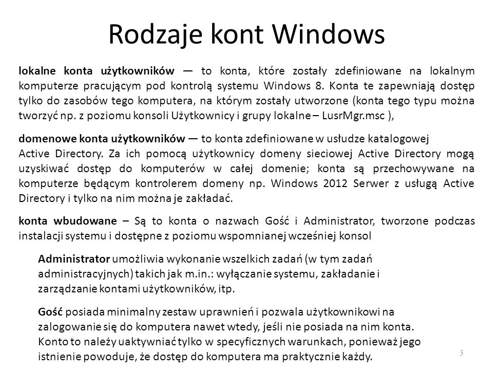 Rodzaje kont Windows