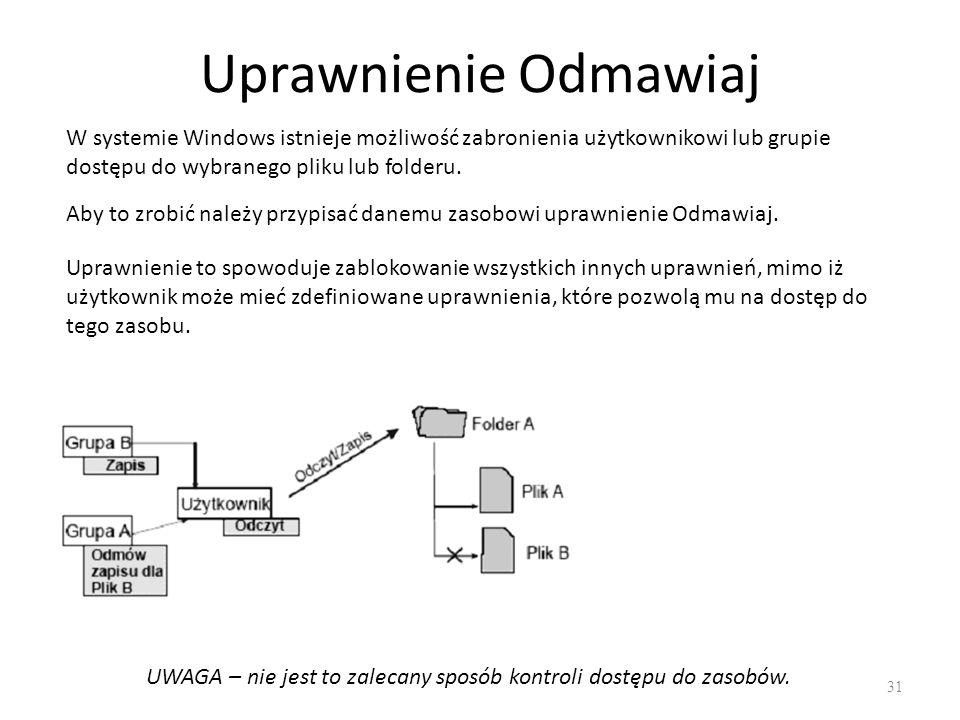 UWAGA – nie jest to zalecany sposób kontroli dostępu do zasobów.