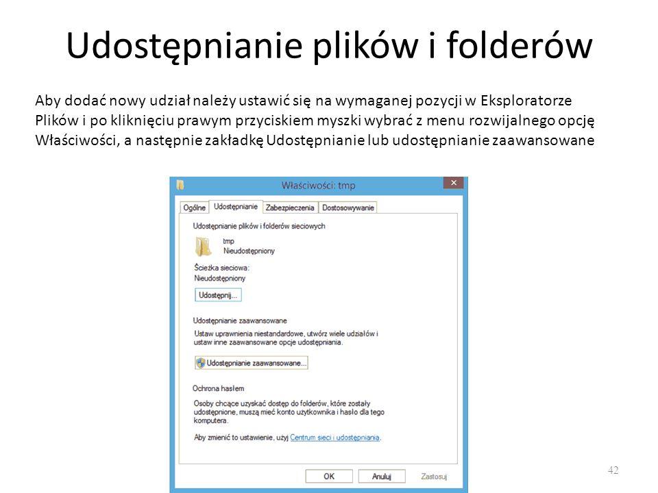 Udostępnianie plików i folderów