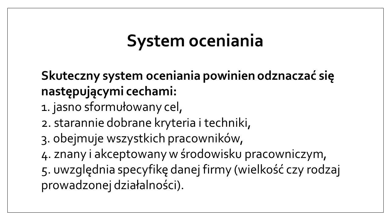 System oceniania Skuteczny system oceniania powinien odznaczać się następującymi cechami: 1. jasno sformułowany cel,