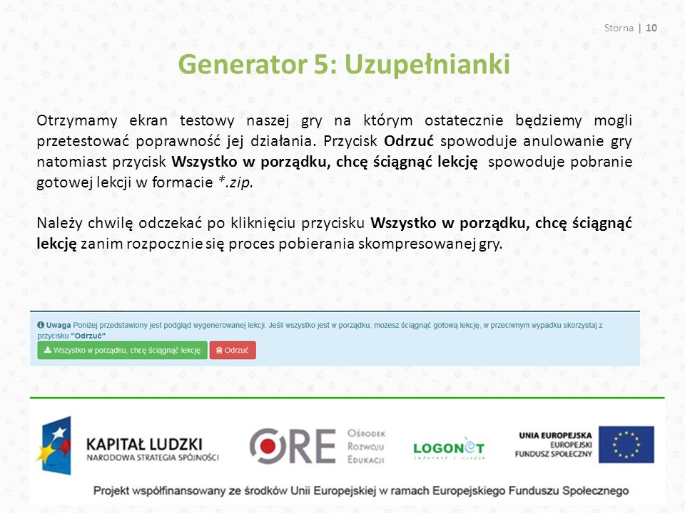 Generator 5: Uzupełnianki
