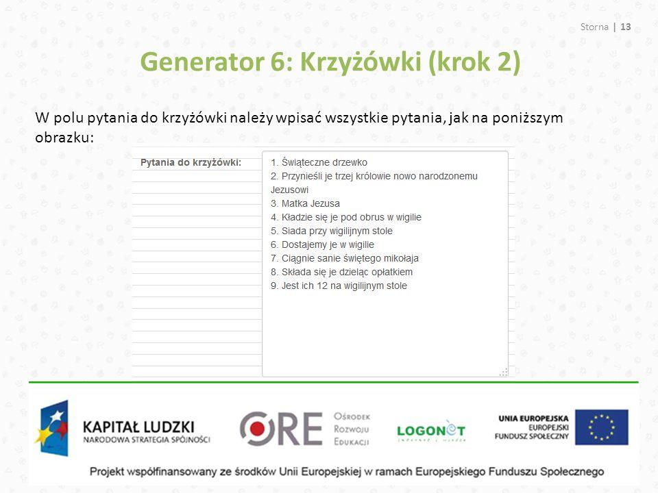 Generator 6: Krzyżówki (krok 2)