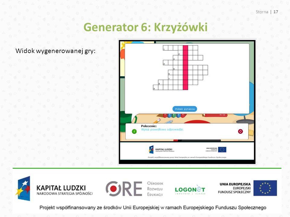 Generator 6: Krzyżówki Widok wygenerowanej gry: