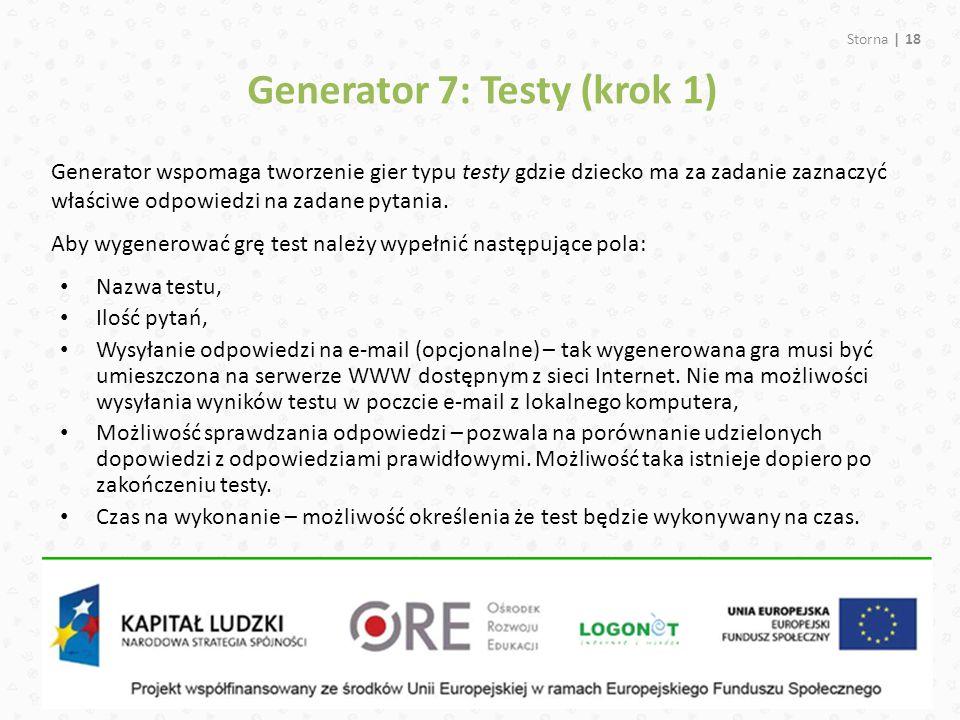 Generator 7: Testy (krok 1)