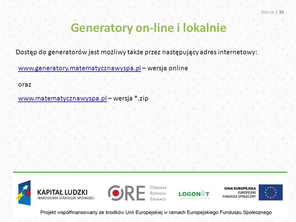 Generatory on-line i lokalnie