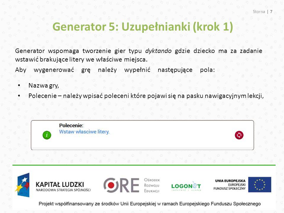 Generator 5: Uzupełnianki (krok 1)