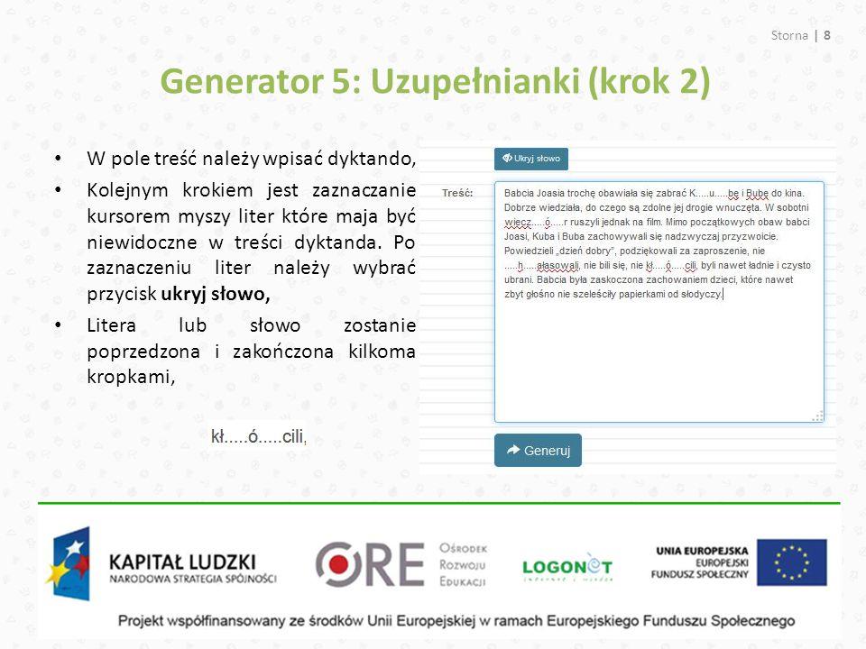 Generator 5: Uzupełnianki (krok 2)
