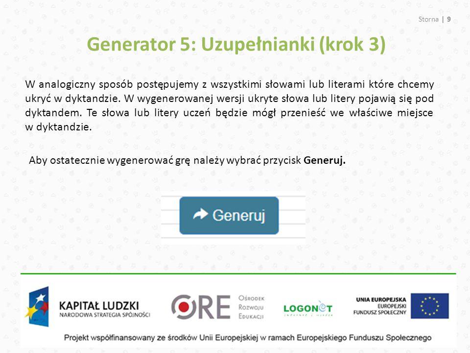 Generator 5: Uzupełnianki (krok 3)