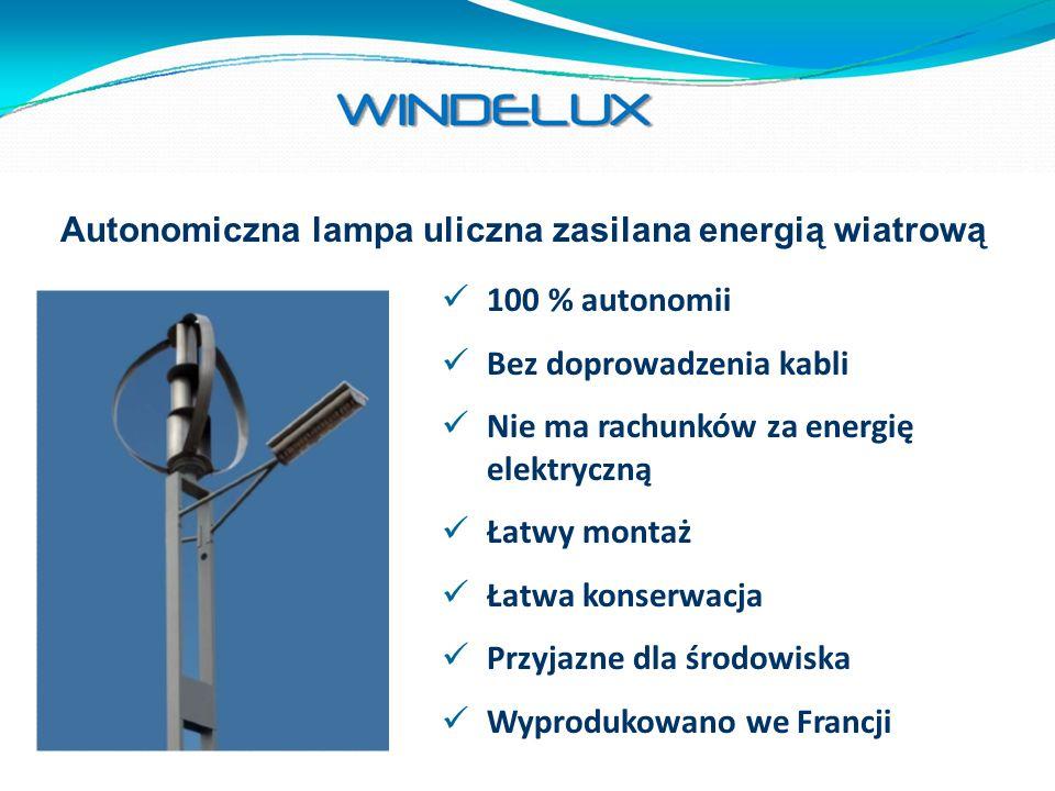 Autonomiczna lampa uliczna zasilana energią wiatrową