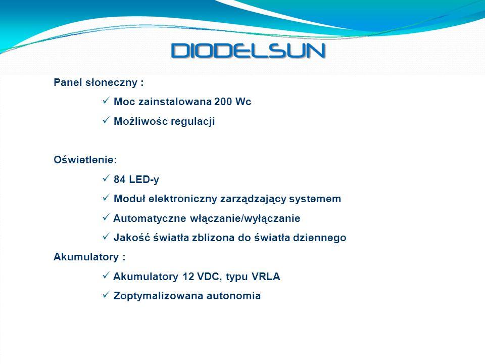 Panel słoneczny : Moc zainstalowana 200 Wc. Możliwośc regulacji. Oświetlenie: 84 LED-y. Moduł elektroniczny zarządzający systemem.