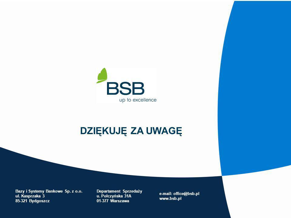 DZIĘKUJĘ ZA UWAGĘ Bazy i Systemy Bankowe Sp. z o.o. ul. Kasprzaka 3