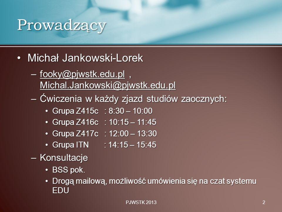 Prowadzący Michał Jankowski-Lorek