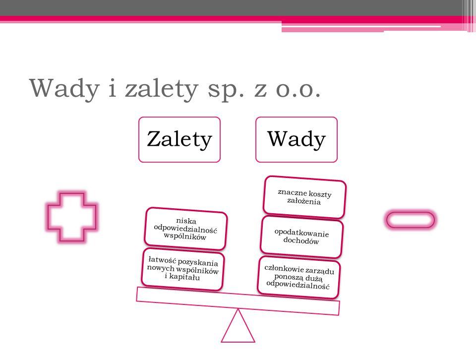 Wady i zalety sp. z o.o. Zalety