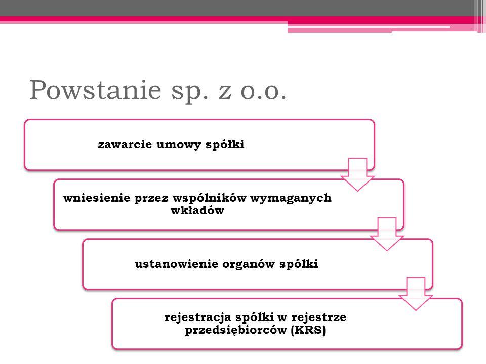 Powstanie sp. z o.o. zawarcie umowy spółki