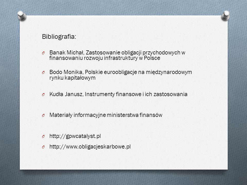 Bibliografia: Banak Michał, Zastosowanie obligacji przychodowych w finansowaniu rozwoju infrastruktury w Polsce.