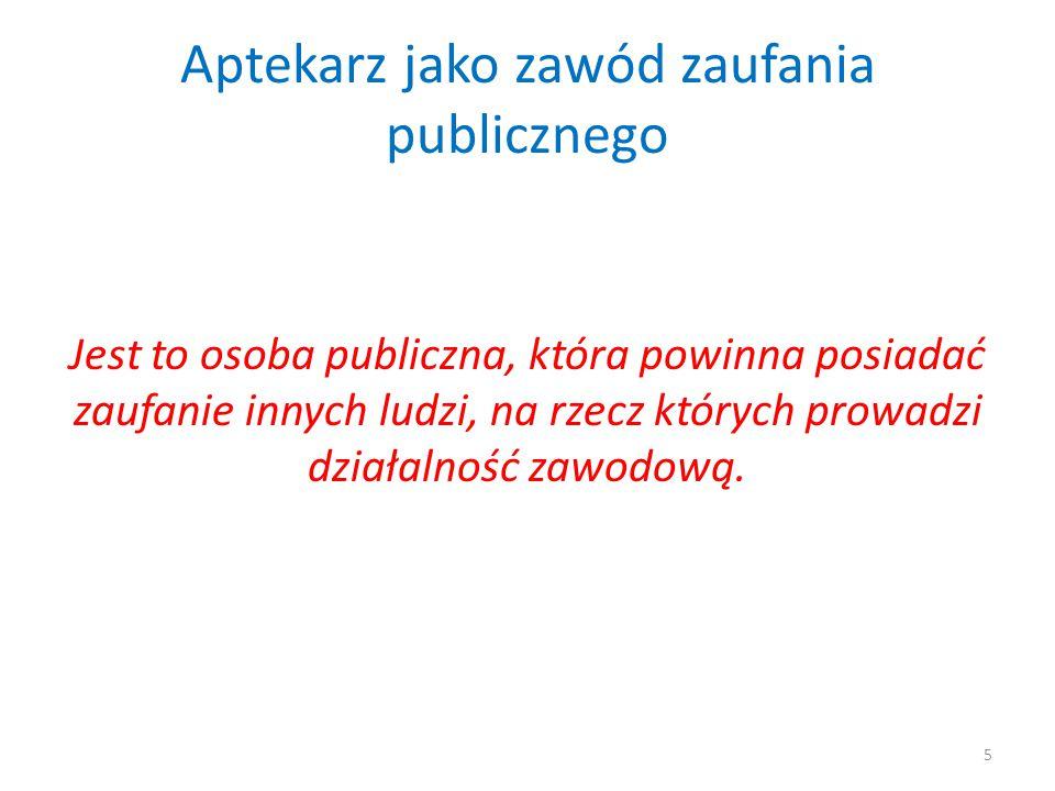 Aptekarz jako zawód zaufania publicznego