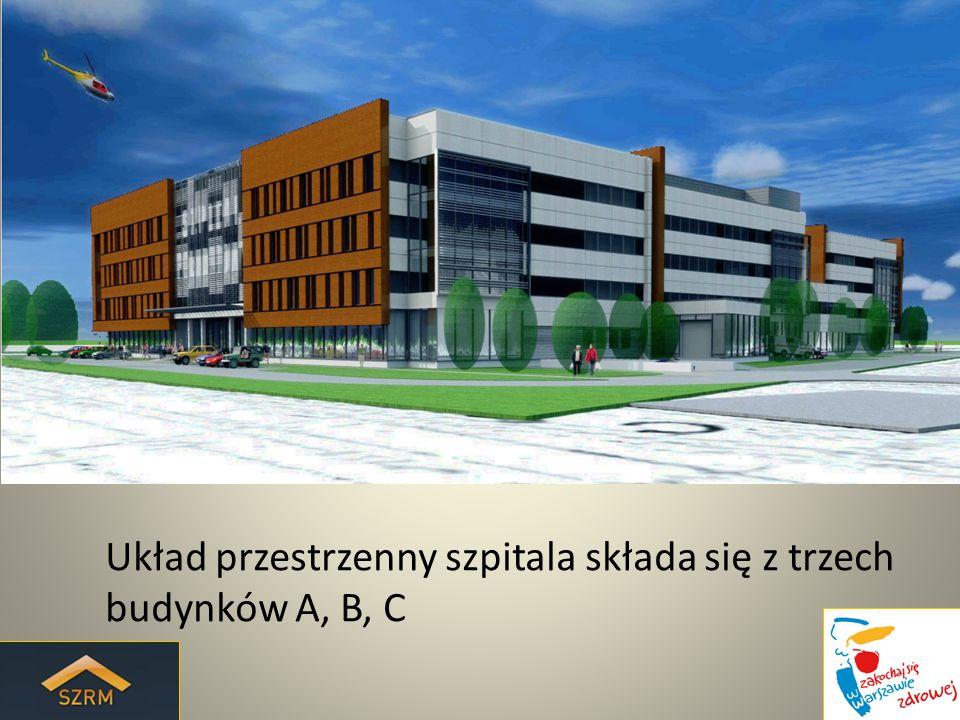 Układ przestrzenny szpitala składa się z trzech budynków A, B, C