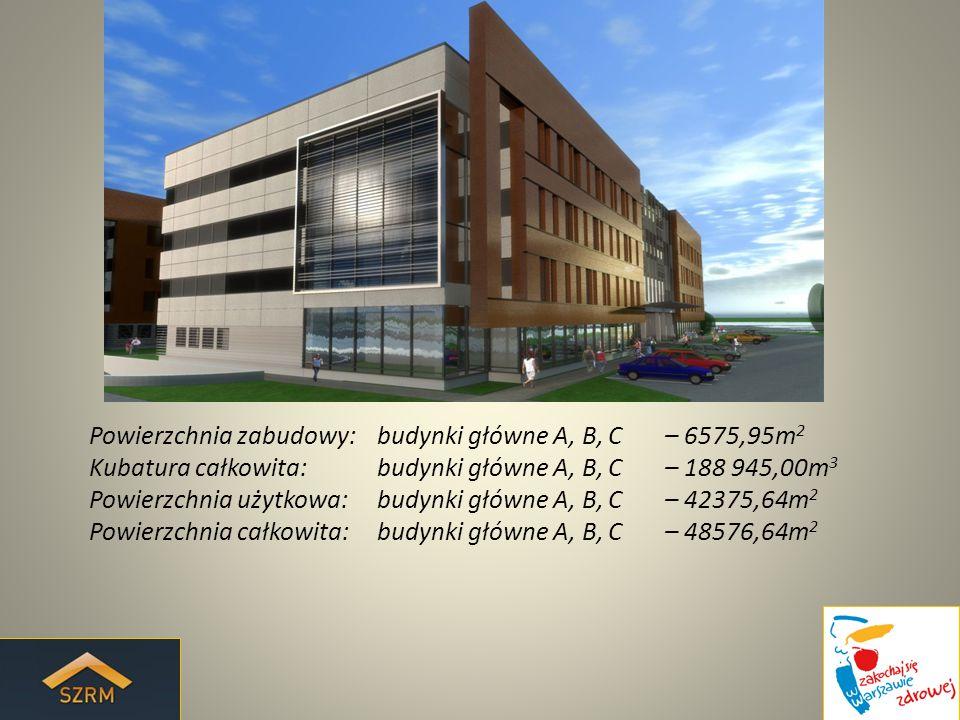 Powierzchnia zabudowy: budynki główne A, B, C – 6575,95m2