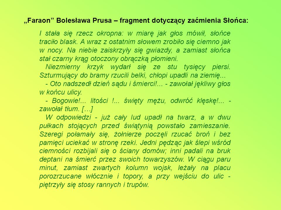 """""""Faraon Bolesława Prusa – fragment dotyczący zaćmienia Słońca:"""