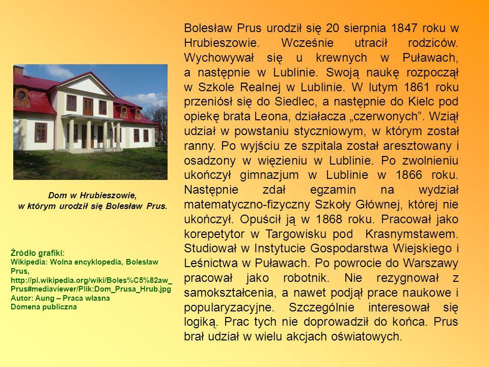 Dom w Hrubieszowie, w którym urodził się Bolesław Prus.