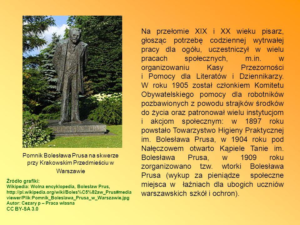 Na przełomie XIX i XX wieku pisarz, głosząc potrzebę codziennej wytrwałej pracy dla ogółu, uczestniczył w wielu pracach społecznych, m.in. w organizowaniu Kasy Przezorności i Pomocy dla Literatów i Dziennikarzy. W roku 1905 został członkiem Komitetu Obywatelskiego pomocy dla robotników pozbawionych z powodu strajków środków do życia oraz patronował wielu instytucjom i akcjom społecznym: w 1897 roku powstało Towarzystwo Higieny Praktycznej im. Bolesława Prusa, w 1904 roku pod Nałęczowem otwarto Kąpiele Tanie im. Bolesława Prusa, w 1909 roku zorganizowano tzw. wtorki Bolesława Prusa (wykup za pieniądze społeczne miejsca w łaźniach dla ubogich uczniów warszawskich szkół i ochron).