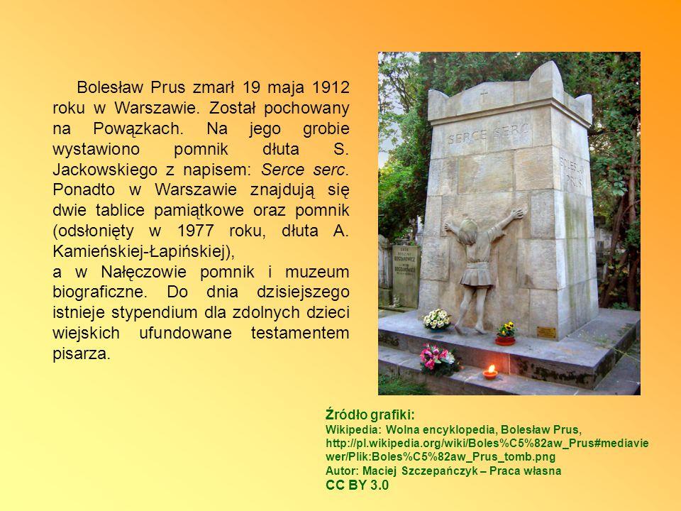 Bolesław Prus zmarł 19 maja 1912 roku w Warszawie
