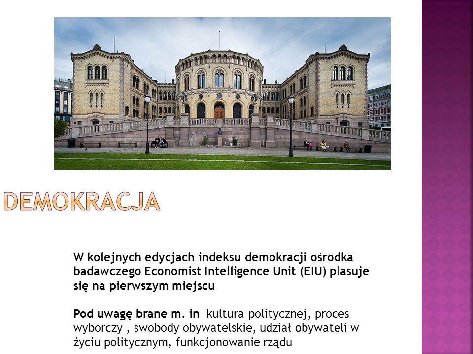 Demokracja W kolejnych edycjach indeksu demokracji ośrodka badawczego Economist Intelligence Unit (EIU) plasuje się na pierwszym miejscu.