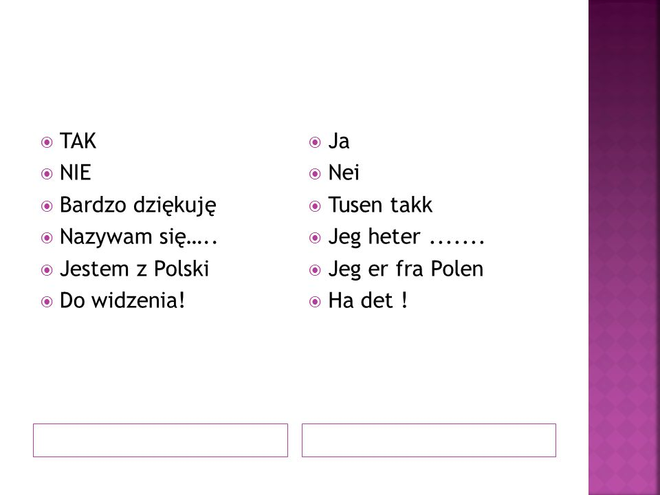 TAK NIE. Bardzo dziękuję. Nazywam się….. Jestem z Polski. Do widzenia! Ja. Nei. Tusen takk. Jeg heter .......
