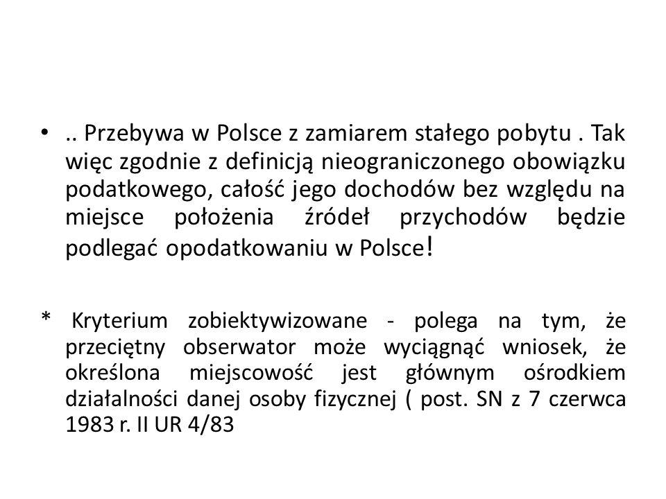 Przebywa w Polsce z zamiarem stałego pobytu