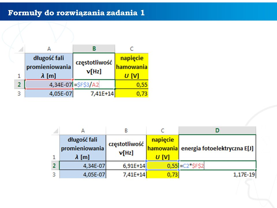 Formuły do rozwiązania zadania 1