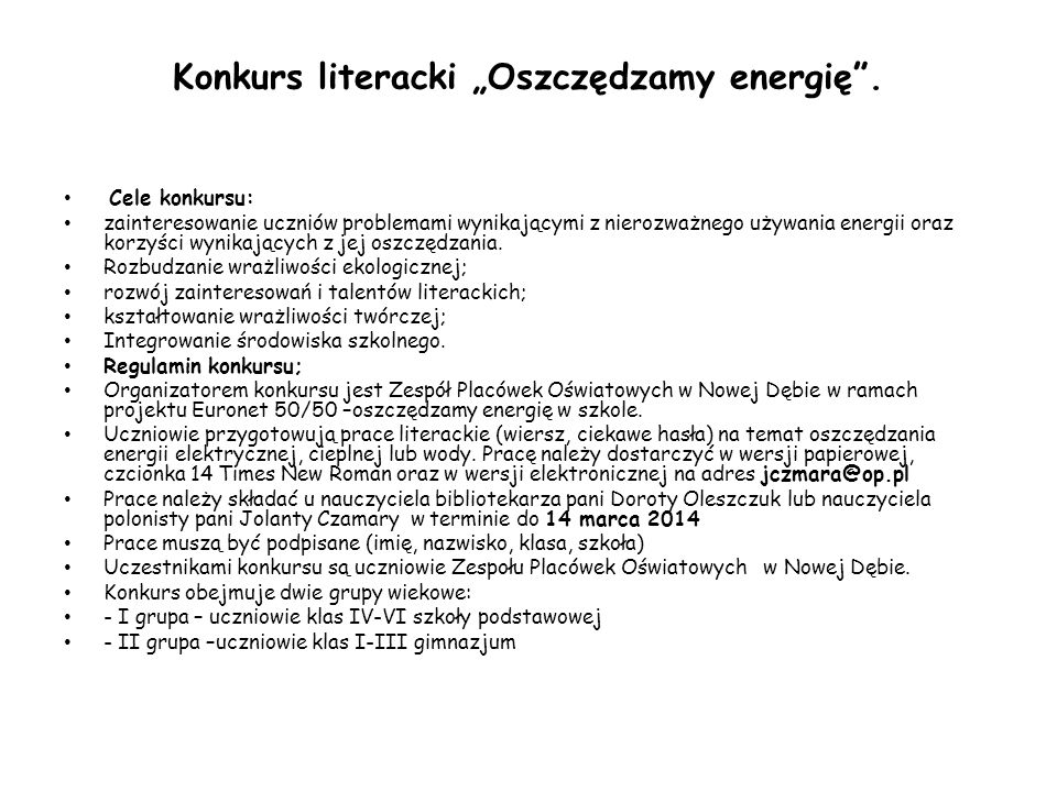 """Konkurs literacki """"Oszczędzamy energię ."""