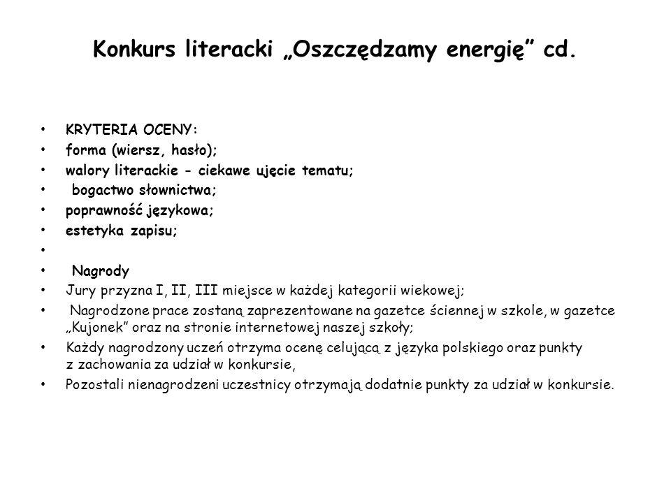 """Konkurs literacki """"Oszczędzamy energię cd."""