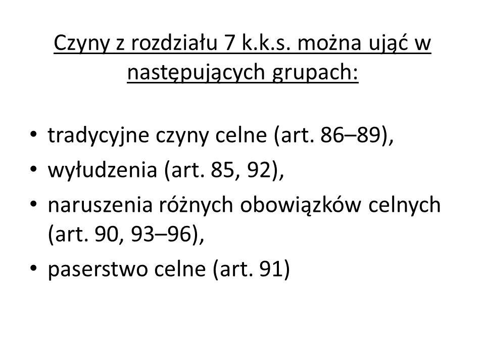 Czyny z rozdziału 7 k.k.s. można ująć w następujących grupach: