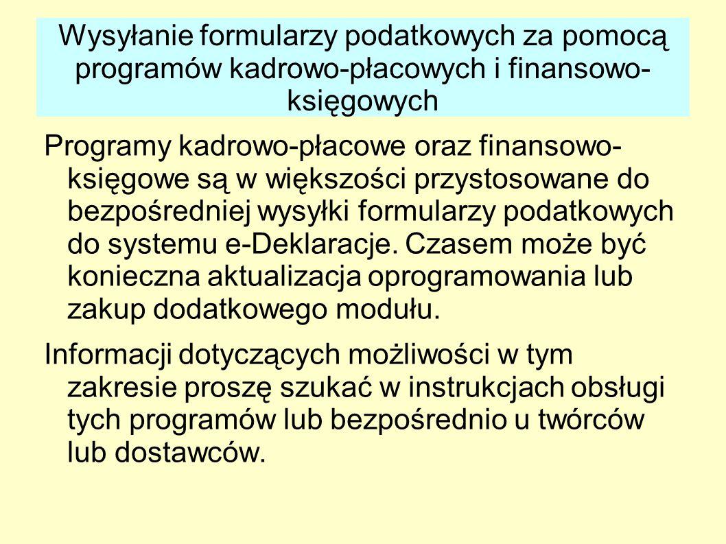 Wysyłanie formularzy podatkowych za pomocą programów kadrowo-płacowych i finansowo-księgowych