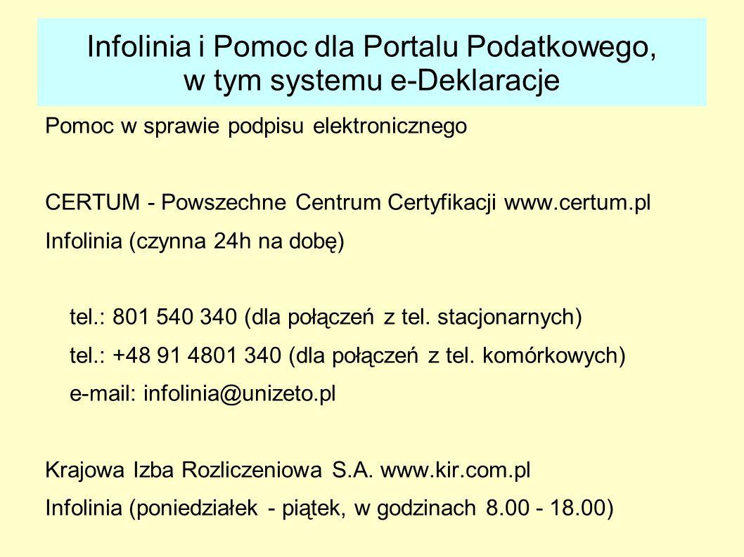 Infolinia i Pomoc dla Portalu Podatkowego, w tym systemu e-Deklaracje