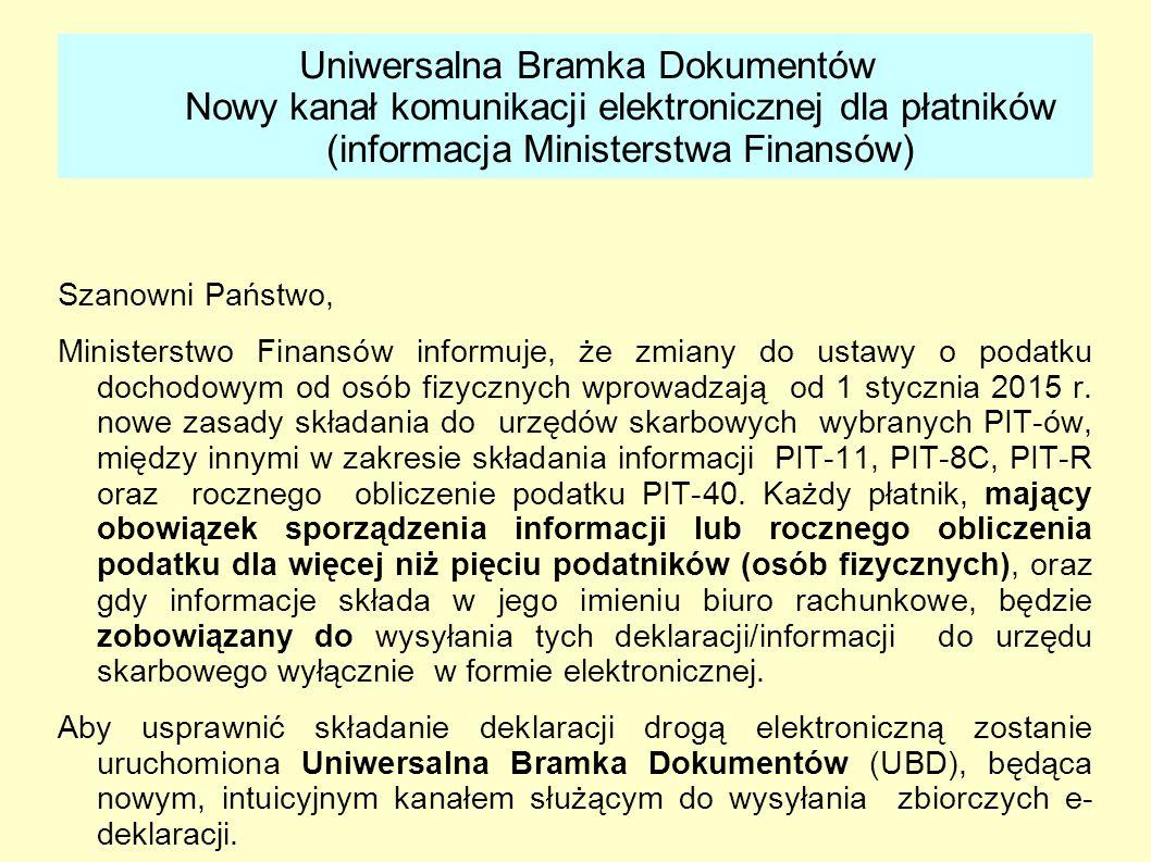 Uniwersalna Bramka Dokumentów Nowy kanał komunikacji elektronicznej dla płatników (informacja Ministerstwa Finansów)