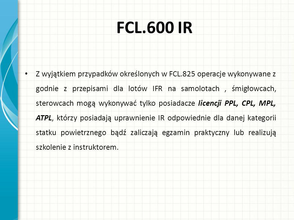 FCL.600 IR