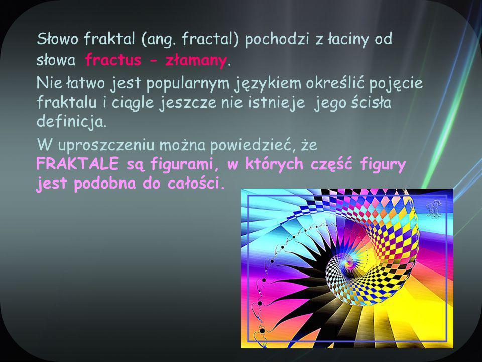 Słowo fraktal (ang. fractal) pochodzi z łaciny od słowa fractus - złamany.