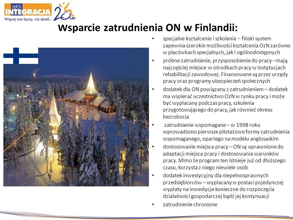 Wsparcie zatrudnienia ON w Finlandii: