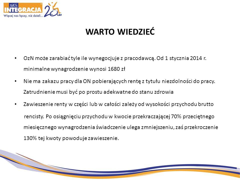 WARTO WIEDZIEĆ OzN może zarabiać tyle ile wynegocjuje z pracodawcą. Od 1 stycznia 2014 r. minimalne wynagrodzenie wynosi 1680 zł.