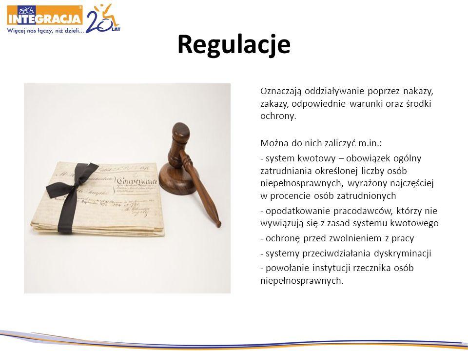 Regulacje Oznaczają oddziaływanie poprzez nakazy, zakazy, odpowiednie warunki oraz środki ochrony. Można do nich zaliczyć m.in.: