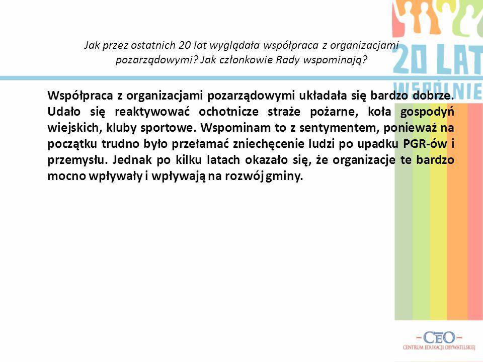 Jak przez ostatnich 20 lat wyglądała współpraca z organizacjami pozarządowymi Jak członkowie Rady wspominają