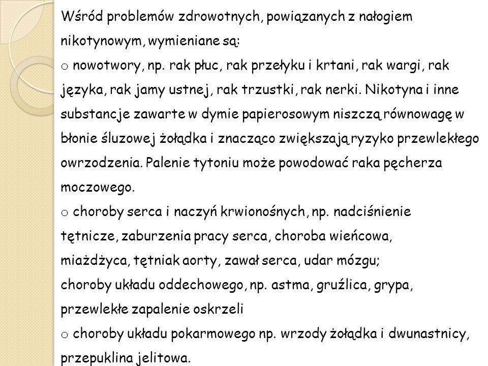 Wśród problemów zdrowotnych, powiązanych z nałogiem nikotynowym, wymieniane są: